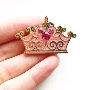Vintage Disney sparkly pink & rhinestone crown pin